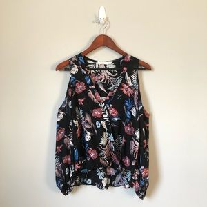 Lush Black and Floral Cold Shoulder V-Neck Top